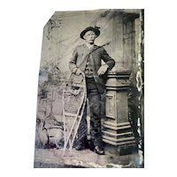 Vintage Tintype Young Holding Snow Shoes