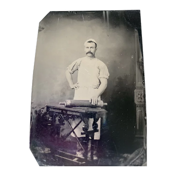 Occupational Tintype Man With Rolling Pin Baker
