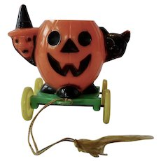Rosbro Halloween JOL Candy Container Pull Toy With Witch And Cat