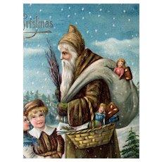 Santa In Brown Robe Embossed Postcard Greeting Children Made In Germany