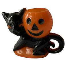 Vintage Rosbro Halloween Candy Container Black Cat With JOL