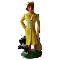 Vintage Barclay Manoil Figurine Woman With Her Dog
