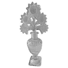 Pressed Glass Perfume Bottle With Sunflower Stopper