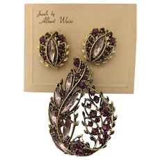 Albert Weiss Earring And Brooch Pin Set Pink And Purple Stones