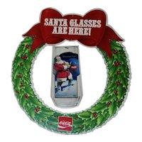 Coke Cola Santa Glasses Christmas Wreath Advertising 1970s