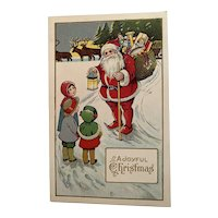 Children Talking With Santa Postcard