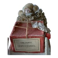 Vintage Cotton Spun Santa On Mica Decorated Sled Candy Container