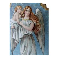 Angel With Holy Child Christmas Postcard