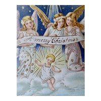 Group Of Angels And Holy Child Merry Christmas Postcard