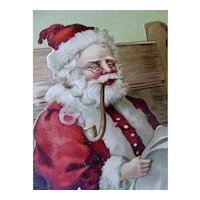 Santa Smoking His Pipe Christmas Postcard Checking His List