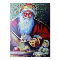 Santa Packing His Sack Christmas Postcard For Delivery