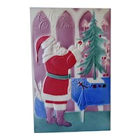 Santa Hanging Ornaments On Tree Postcard Air Brushed
