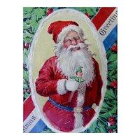 Santa Holding Jester Postcard