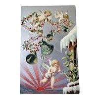 Christmas Embossed Postcard With Cherubs