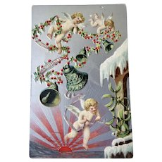 Christmas Embossed Postcard With Cherubs