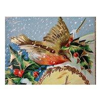 Gel Bird Holly Wind Mill Christmas Postcard