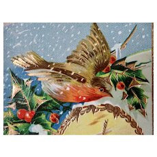 Gel Bird Holly Wind Mill Christmas Postcard