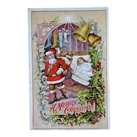 Santa Girl Sleep Embossed Christmas Postcard Stockings Bells Star
