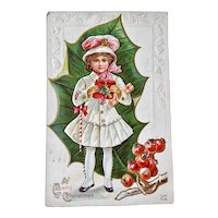 Little Girl Well Dress With Presents And Candy Cane Christmas Postcard