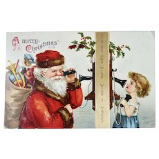 Santa On Phone With Girl Christmas Postcard Ellen H. Clapsaddle Artist Signed