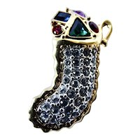Swarovski Crystal Christmas stocking Pin Brooch With Colorful Stones