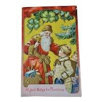 Santa Children Four Leaf Clover Embossed Christmas Postcard
