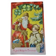 Santa Children Four Leaf Clover Embossed Christmas Postcard