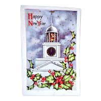 Happy New Year Embossed Postcard Clock Bell On Church