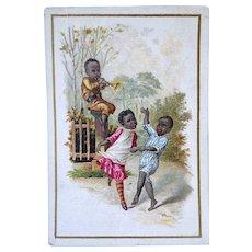 Victorian Trade Card Black Children Dancing J Kruger Dealer Int Choice Teas Coffees