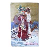 Santa Walking With A Deer Carrying Bag Of Toys Christmas Postcard