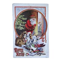 Santa Opening Door And Toys Christmas Embossed Postcard