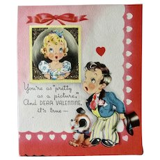 Valentine Day Card With Glitter Girl In Picture Frame Titled You're As Pretty As a Picture