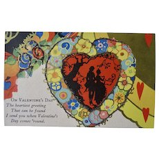 Valentine Postcard With Glitter And Silhouette Of Lovers