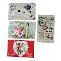 Lot Of 4 Valentine Postcard  1 Germany  1 Clapsaddle