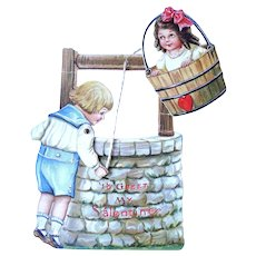 Boy At The Well Valentine Mechanical Card