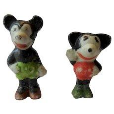 Bisque Walt Disney  Mickey Mouse 1930s Mini Figurines