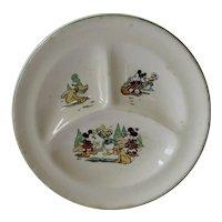 Vintage Walt Disney Patriot China Child Plate Mickey Minnie Donald Duck