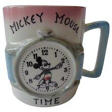 Walt Disney Mickey Mouse Watch 3-D Cup Mug 1950s-60s