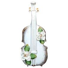 Rare and Lovely Magnolia Violin Bottle Vase
