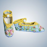 Fabulous Embroidered Early Antique Doll Shoes