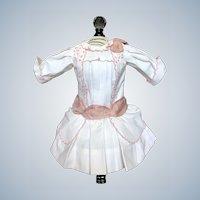 Crisp White Cotton Pink Work Eyelet lace Dress