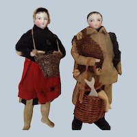 8 inch Tall 1870s French Bisque Fisherman and his Wife