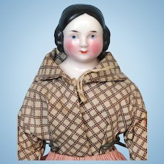 Antique All Original Pink Tint Covered Wagon China Head Doll