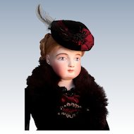 Beautiful Antique French Fashion Doll with Painted Blue Eyes