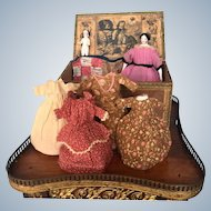 Antique Bun China Head Doll from 1840 with Her Wardrobe