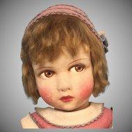 Original French Felt Doll by Raynal in 1930th