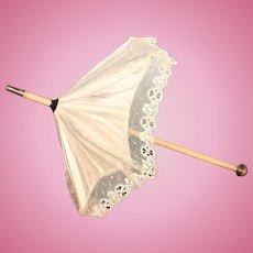 Antique French Fashion Doll or Bebe Silk Parasol