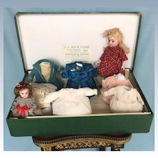 "Antique 9"" Simon & Halbig 886 All-Bisque, Long Black Stockings Doll with Her Wardrobe in Original Store Box in Lyon, France"