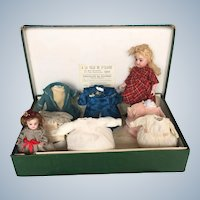"""Antique 9"""" Simon & Halbig 886 All-Bisque, Long Black Stockings Doll with Her Wardrobe in Original Store Box in Lyon, France"""
