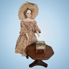 Antique Glass Vitrine for Fashion Doll with Micromosaic Top